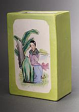 GREEN BRUSH POT  WITH WOMAN SITTING