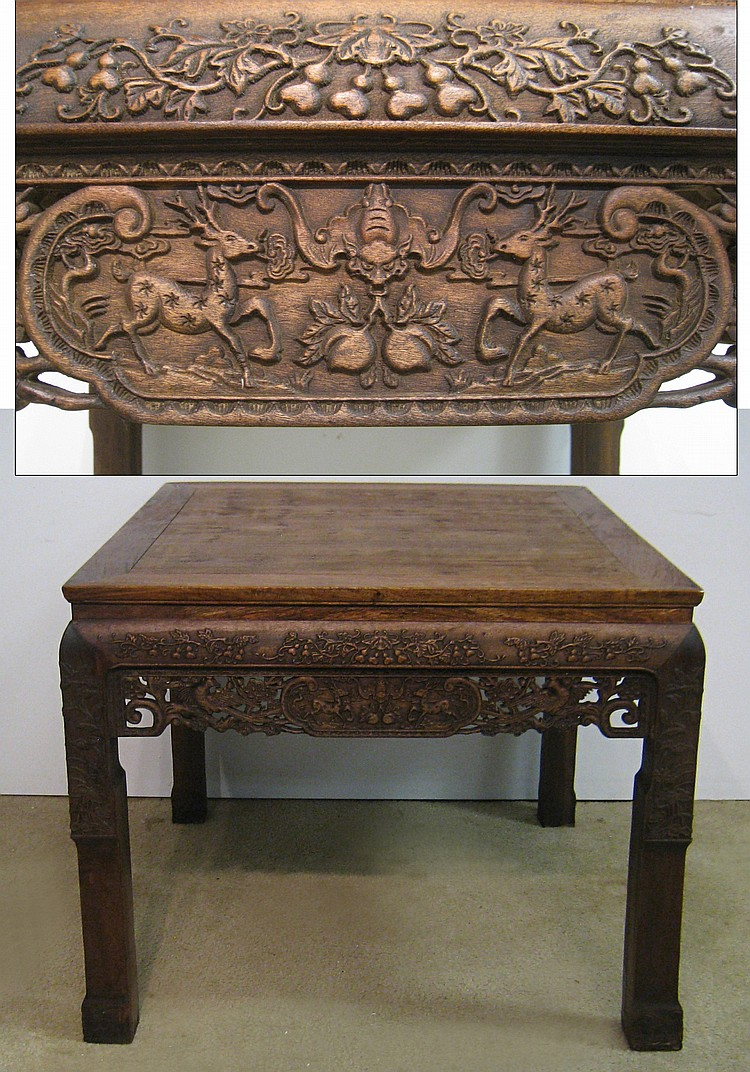 Chinese huanghuali carved table for Asian furniture dc