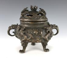 METAL DRAGON CENSER WITH LID