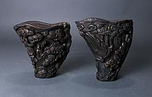 PAIR OF CHINESE LIBATION CUPS