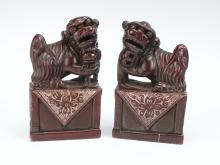 PAIR OF CHINESE SOAPSTONE FOO DOG CARVINGS