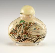 REVERSE PAINTED GLASS SNUFF BOTTLE