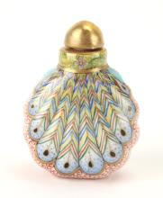 CHINESE PORCELAIN PEACOCK TAIL SNUFF BOTTLE
