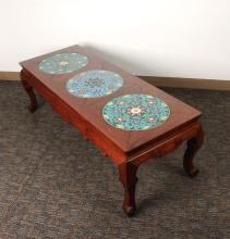 HUANGHUALI TEA TABLE WITH THREE CLOISONNE INSETS