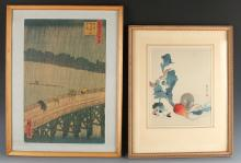 TWO FRAMED JAPANESE PRINTS
