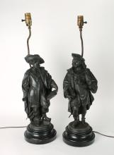PAIR OF SPELTER RENAISSANCE MEN LAMPS WITH SHADES