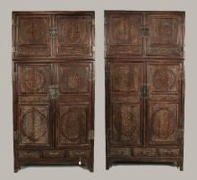 PAIR TWO TIERED CHINESE ZITAN WOOD CABINETS