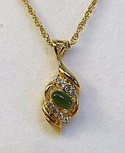 Green Jade & 10k Plate Necklace