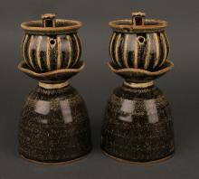 PAIR OF SONG CERAMIC OIL LAMPS