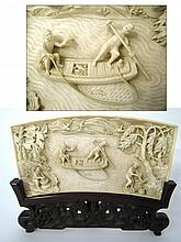 Chinese Qing Ivory Fisherman Carving & Stand