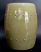 Green Glazed Porcelain Stool