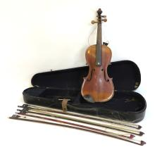 VIOLIN WITH CASE AND BOWS