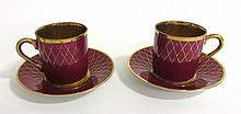 Pair Maroon And Luster Gold Demi Tasse