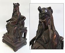 Lacquer & Gilt Bronze Guanyu Figure