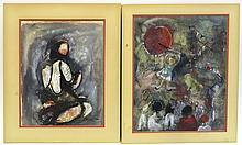 Pair Of Maudee Carron Watercolors