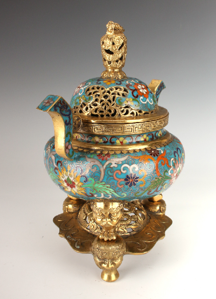 Cloisonn censer with stand for Cloison stand