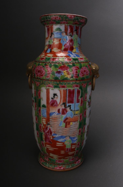 Chinese Rose Medallion Export Vase