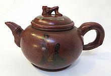 Antique Painted Yixing Teapot