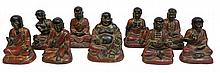 19th C Seated Chinese Luohan Bronze Figures