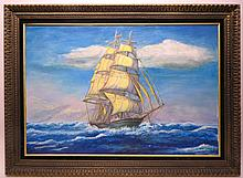 Square Rigged Sailing Ship By  Elvan Habicht 1974