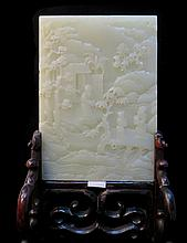 Carved White Jade Table Screen