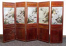 19th Century Chinese Five Panel Floor Screen