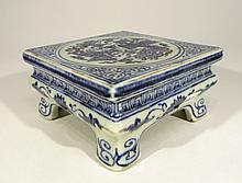 Blue And White Footed Stand