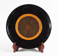 Lino Tagliapietra. Blown glass plate w/wood Stand