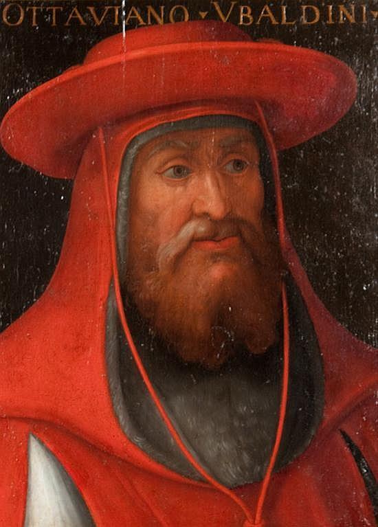 Cristofano di Papi dell'Altissimo , Italian, c.1530-1605, Portrait of Cardinal Ottoviano Ubaldini, oil on panel, 22 1/2 x 17 in., fr..