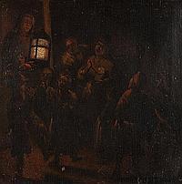 Attributed to Adriaen Lievensz Van Der Poel, Dutch, 1626-1685, Night Scene, oil on panel, 7 1/2 x 7 1/2 in., framed