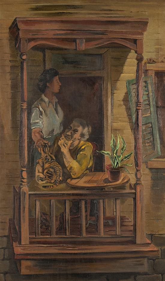 Elizabeth E. Terrell, American, b. 1908, Two Women on a Porch, oil on canvas, 50 x 30 in., framed