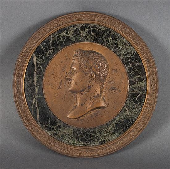 J.F. Antoine Bovy (French, 1795-1877). Portrait relief medallion of Napoleon Bonaparte as Caesar, gilt-bronze