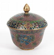 French plique-a-jour lidded jar