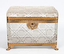 Continental gilt-metal-mounted glass dresser box
