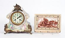 French ceramic mantel clock & wall pocket