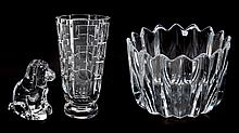 Three Orrefors glass objects
