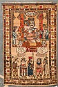 Unusual antique Malayer pictorial rug, 3.2 x 4.10