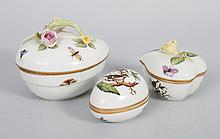 Three Herend porcelain boxes