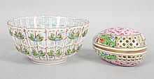Herend porcelain reticulated bowl and box