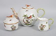 Herend porcelain three-piece tea set
