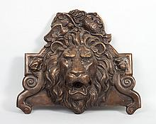 Victorian style bronze lion mask wall fountain