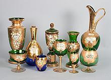 40 Bohemian colored glass partial stemware service