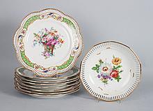 Eight Schumann reticulated porcelain plates