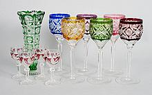 10 Czecho-Bohemian wine stems and vase