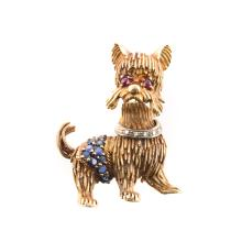 A Lady's Gold Dog Brooch with Gemstones