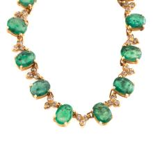 A Lady's Gold Emerald & Diamond Necklace