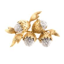 A Lady's 18K Diamond Acorn Brooch
