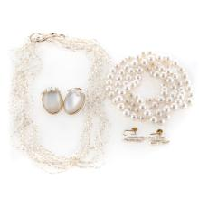 A Collection of Gold and Pearl Jewelry