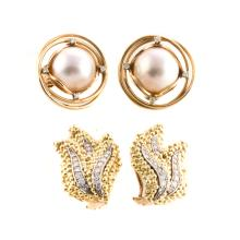 Two Pairs of Lady's Gold Clip Earrings