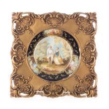 French painted porcelain landscape plaque